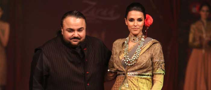 Designer JJ Vallaya with Neha Duphia at BFW 3