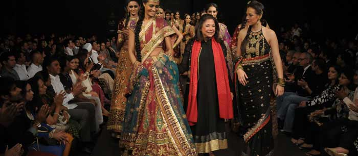 Designer Ritu Kumar with Hazel Keech at BFW 8